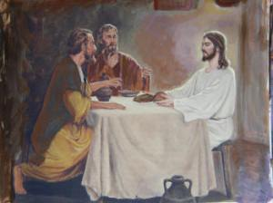 Jesus eats with the Emmaus disciples