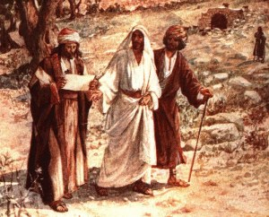 Jesus meets the disciples on the road to Emmaus