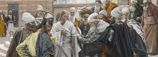 Jesus & Pharisees arguing about the tax