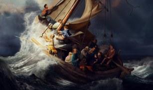 Jesus Calms the Storm Asleep in Stern