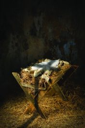 Empty Manger With Cross Shadow